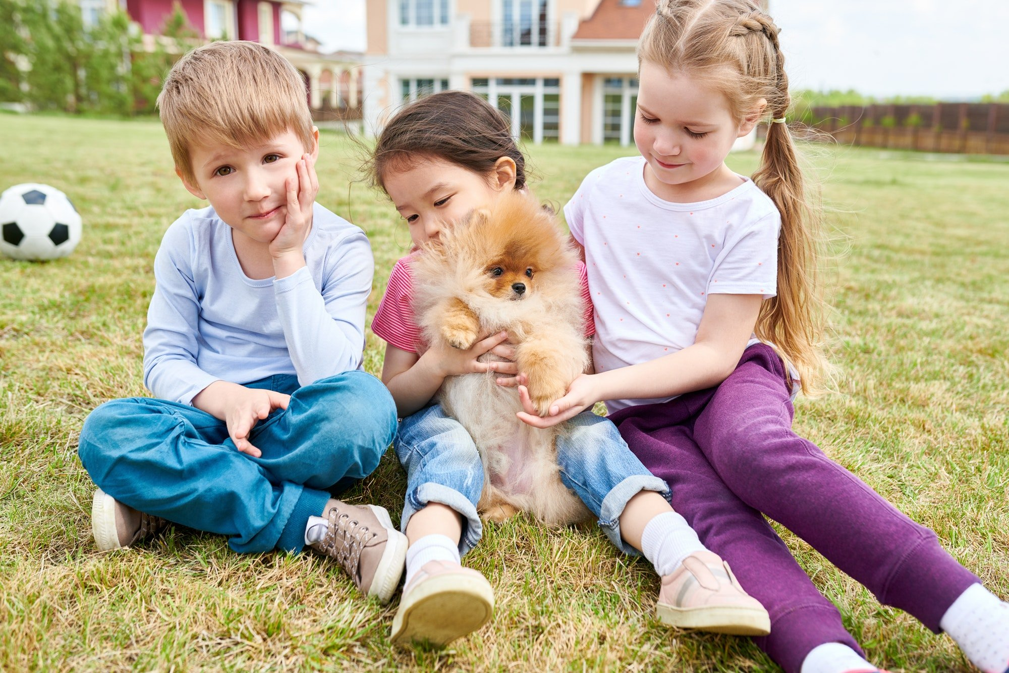 Happy Kids Playing with Cute Puppy